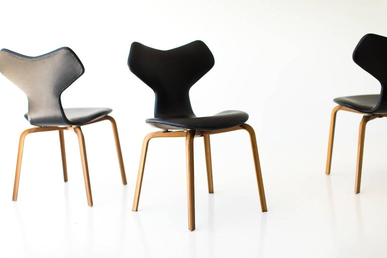 Danish Arne Jacobsen Leather Grand Prix Dining Chairs for Fritz Hansen For Sale