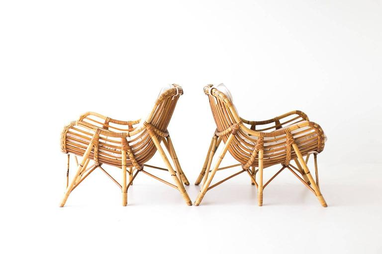 Danish Bamboo and Wicker Lounge Chairs by Laurids Lonborg 5