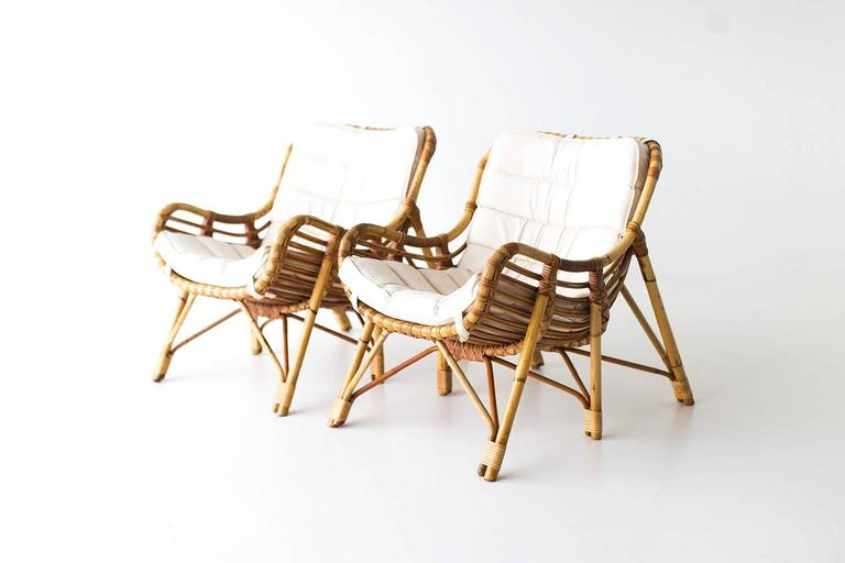 Mid-Century Modern Danish Bamboo and Wicker Lounge Chairs by Laurids Lonborg