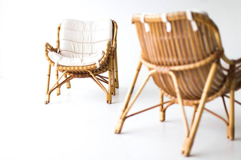 Danish Bamboo and Wicker Lounge Chairs by Laurids Lonborg In Excellent Condition In Oak Harbor, OH