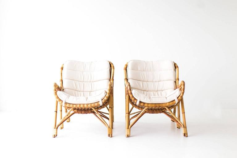 Danish Bamboo and Wicker Lounge Chairs by Laurids Lonborg 1