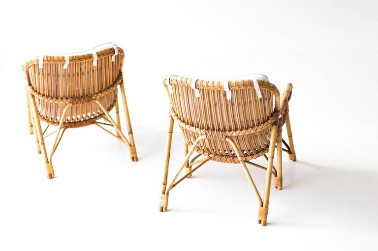 Danish Bamboo and Wicker Lounge Chairs by Laurids Lonborg 3