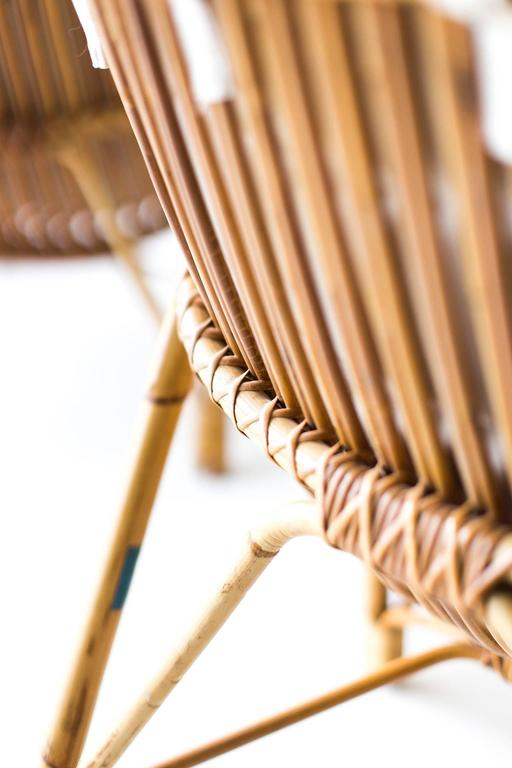 Danish Bamboo and Wicker Lounge Chairs by Laurids Lonborg 4