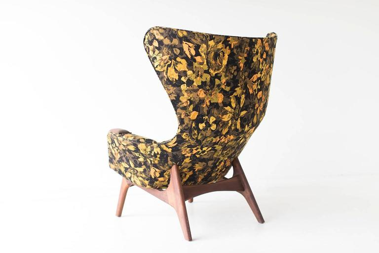 Designer: Adrian Pearsall.  Manufacturer: Craft Associates Inc. Period or model: Mid-Century Modern. Specs: Walnut, fabric.  Condition:   These Adrian Pearsall large wing chair and ottoman for Craft Associates Inc. model 2231-C are in