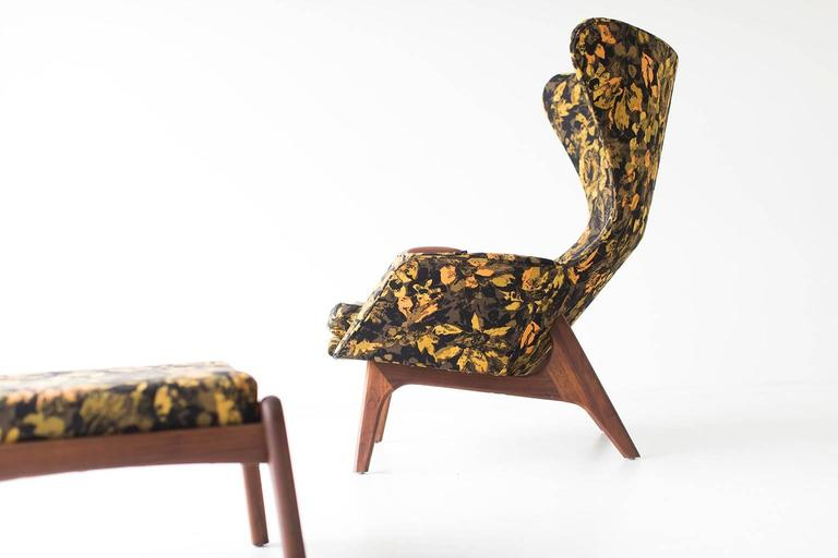 Mid-20th Century Adrian Pearsall Large Wing Chair and Ottoman for Craft Associates Inc.