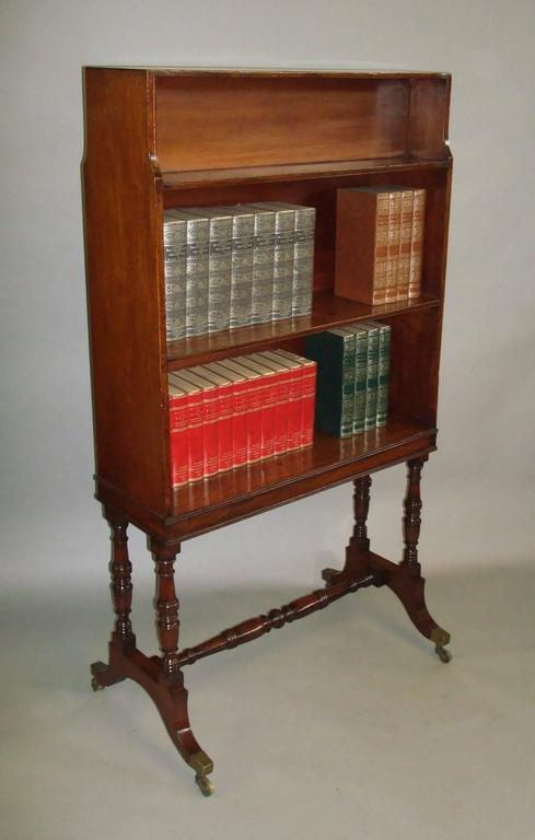 Regency Mahogany Waterfall Open Bookcase Of Freestanding Form