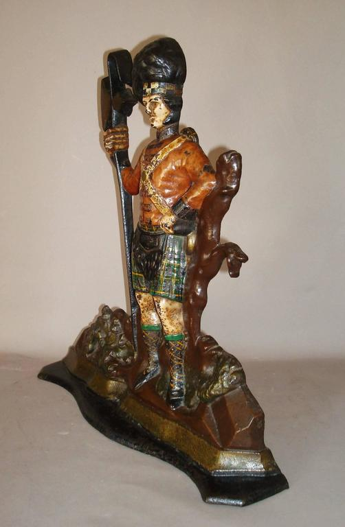 Unusual 19th century Scottish cast iron highland guard door stop or door porter; retaining its & 19th Century Scottish Cast Iron Highland Guard Door Stop or Porter ...