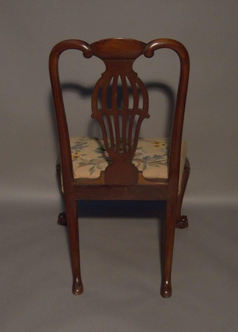 Georgian Carved Mahogany Side Chair Of Generous