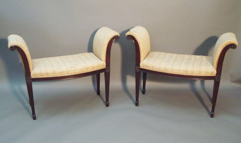 A rare and elegant George III pair of mahogany window seats, in the manner of George Hepplewhite; the raised scrolled ends, with moulded shaped supports, headed with carved, flower head, paterae. The bow fronted seats, on a shallow moulded edge seat