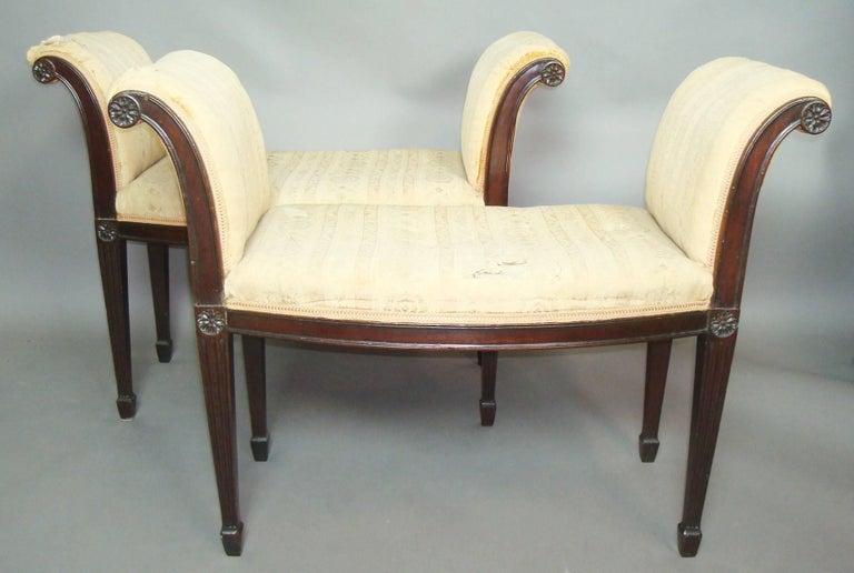 Polished George III Pair of Mahogany Window Seats For Sale