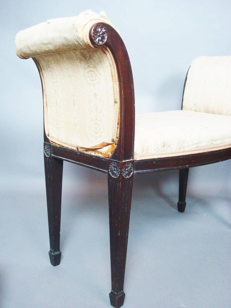 George III Pair of Mahogany Window Seats For Sale 3