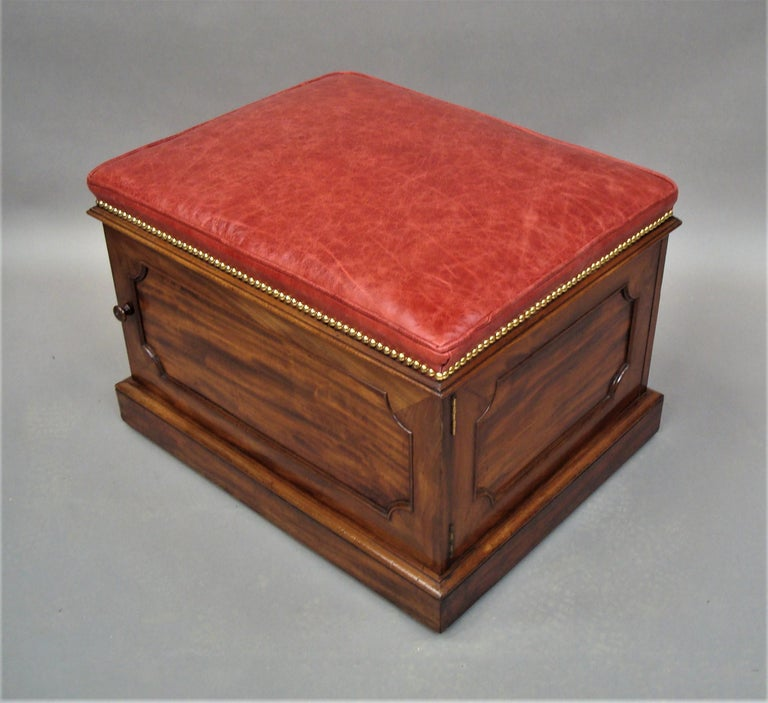William IV Mahogany and Leather Box Stool For Sale 3