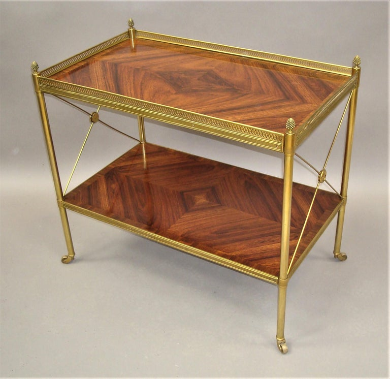 Polished Early 20th Century French Kingwood and Gilt Brass Étagère For Sale
