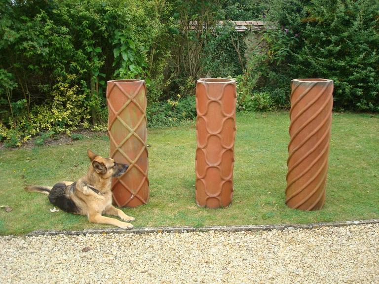 Mid-19th Century 19th Century Trio of Large Terracotta Chimney Pots For Sale