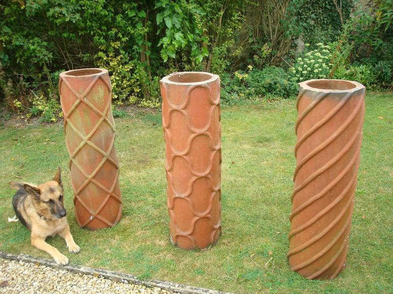 19th Century Trio of Large Terracotta Chimney Pots For Sale 1