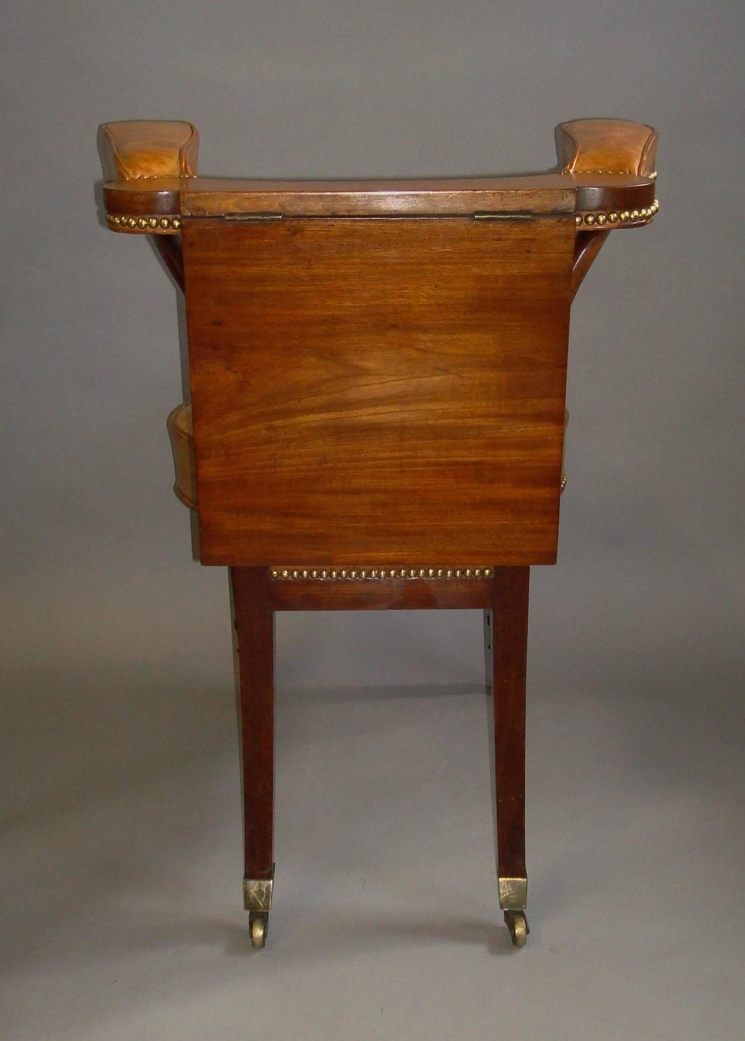 regency mahogany and leather library or reading chair at