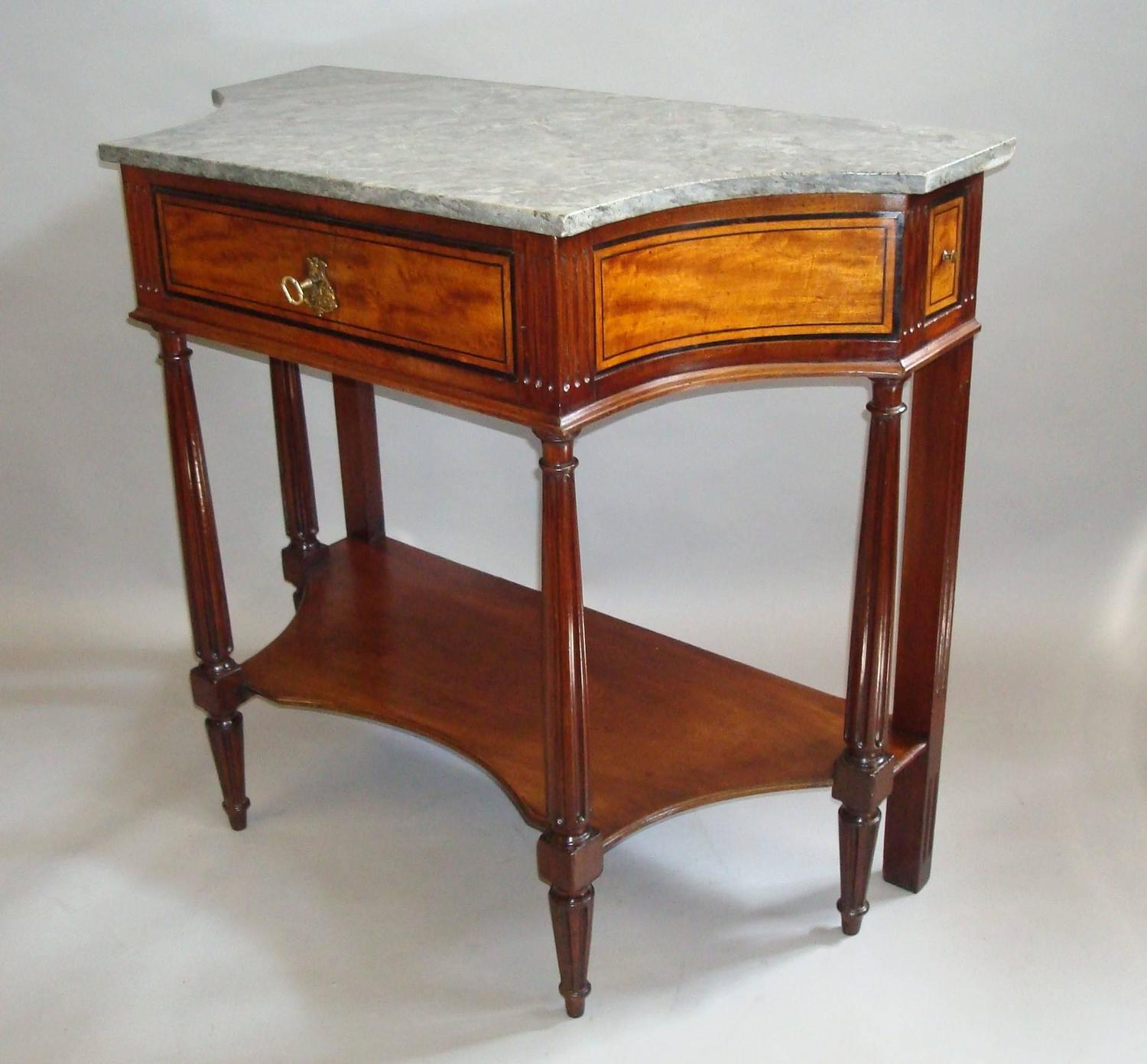 19th century french console table in mahogany and satinwood with