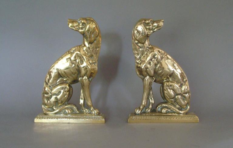 Late 19th Century Pair of 19th Century Brass Retriever Doorstops/Door Porters For Sale