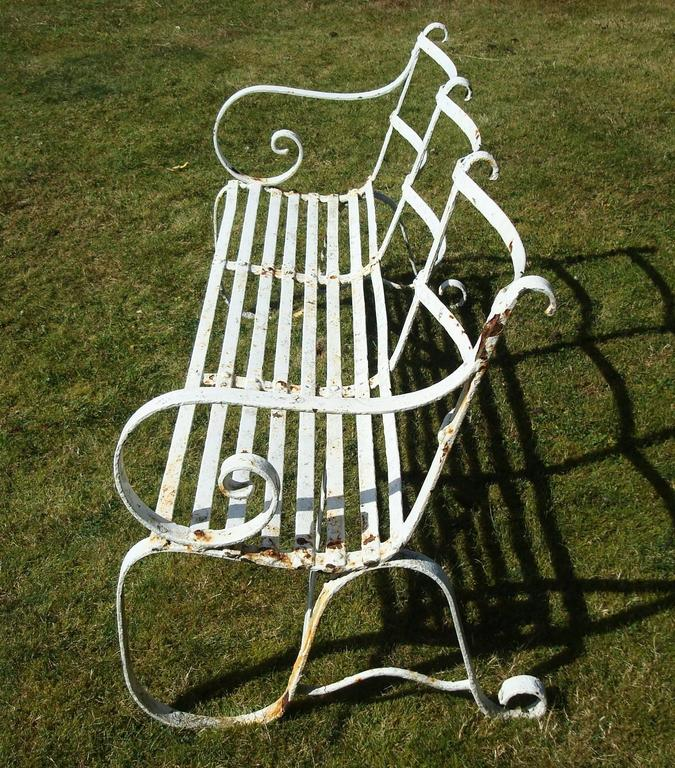 English Regency Wrought Iron Garden Seat/ Bench For Sale