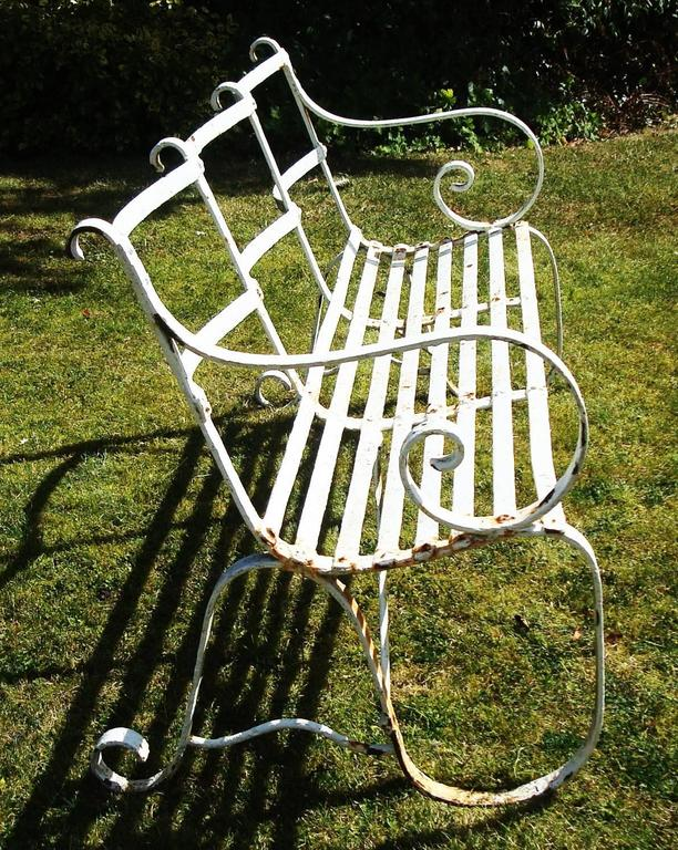 Regency Wrought Iron Garden Seat/ Bench In Good Condition For Sale In Moreton-in-Marsh, Gloucestershire