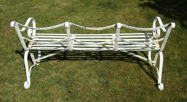 Early 19th Century Regency Wrought Iron Garden Seat/ Bench For Sale