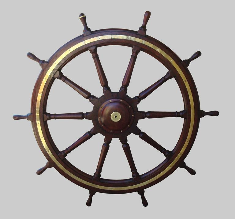 Late 19th Century 19th Century Very Large Teak Ship's Wheel For Sale