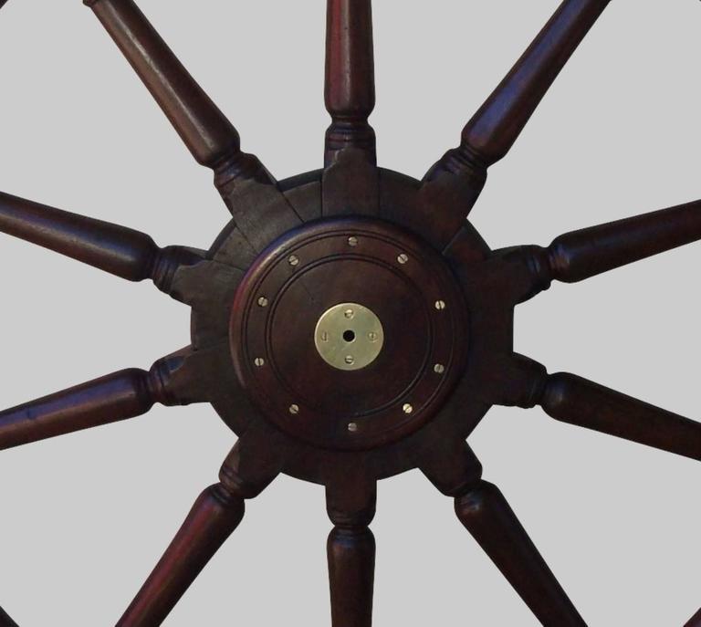 19th Century Very Large Teak Ship's Wheel For Sale 2