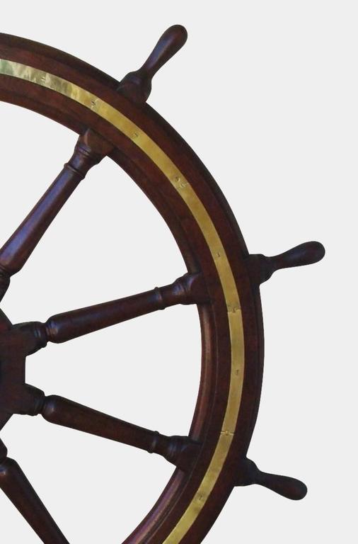 19th Century Very Large Teak Ship's Wheel For Sale 3