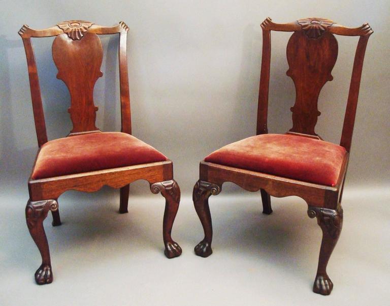 Mahogany George II Pair of Irish Walnut Side Chairs For Sale