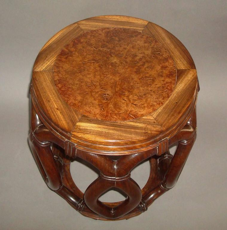 Chinoiserie 19th Century Chinese Hardwood Stool or End Table For Sale
