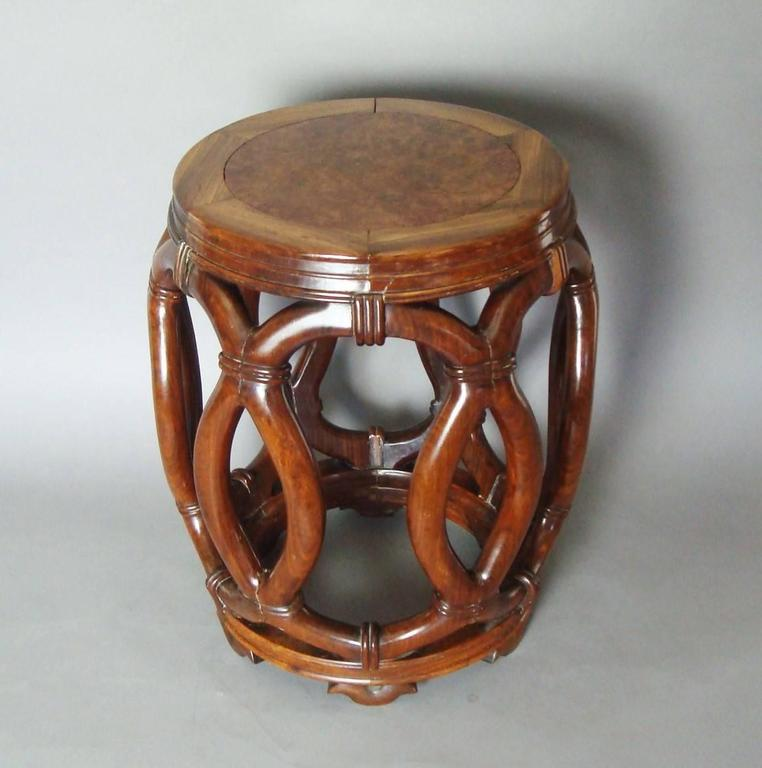19th Century Chinese Hardwood Stool or End Table For Sale 1