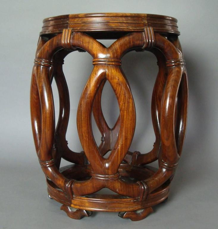 19th Century Chinese Hardwood Stool or End Table For Sale 2