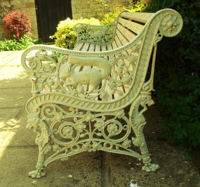 Scottish Monumental 19th Century Cast Iron Squirrel Garden Bench / Seat For Sale