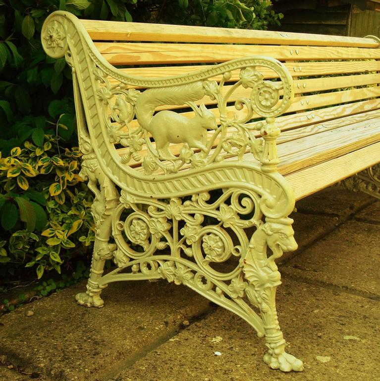 Late 19th Century Monumental 19th Century Cast Iron Squirrel Garden Bench / Seat For Sale