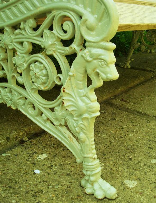 Monumental 19th Century Cast Iron Squirrel Garden Bench / Seat For Sale 4