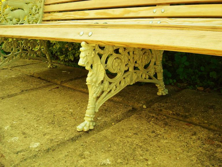 Monumental 19th Century Cast Iron Squirrel Garden Bench / Seat For Sale 5