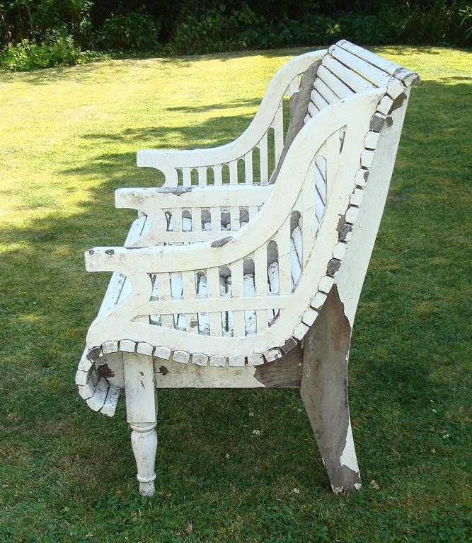 English Early C20th Teak Garden Seat of Unusual Form For Sale