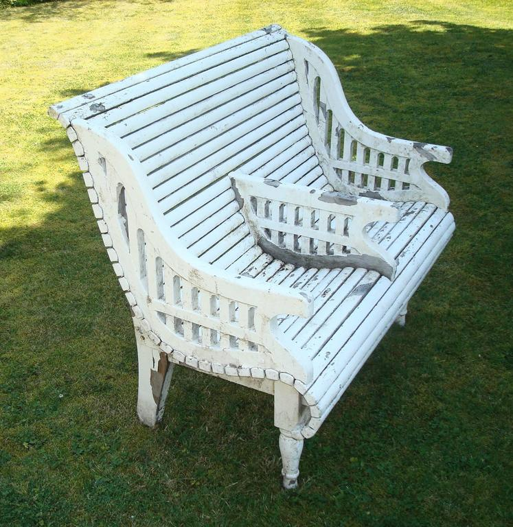 Painted Early C20th Teak Garden Seat of Unusual Form For Sale