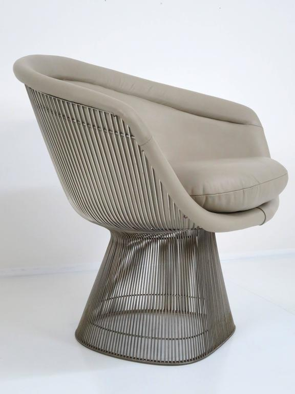 Leather Warren Platner Lounge Chair for Knoll Inc For Sale