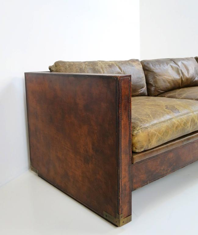Percival Lafer Rosewood And Distressed Tufted Yellow: Distressed And Patinated Leather Smoking Room Sofa At 1stdibs