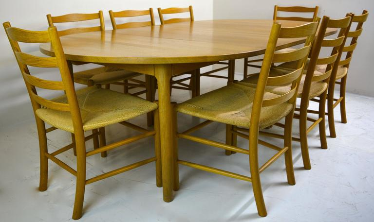Set of Eight Kaare Klint Dining Chairs for Fritz Hansen, Denmark In Excellent Condition For Sale In San Diego, CA