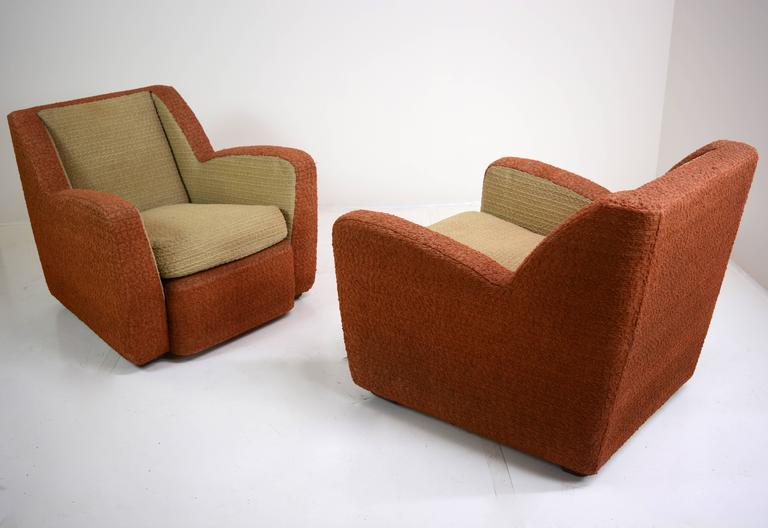 Streamlined Moderne Pair of Italian Club Chairs, circa 1940s For Sale