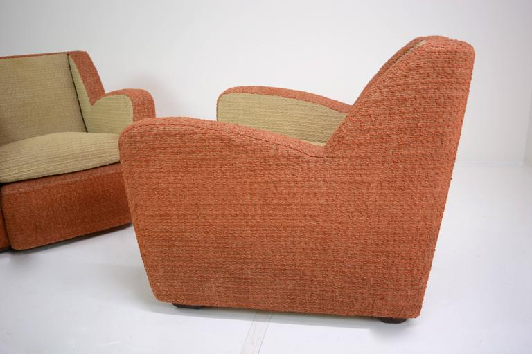 Mid-20th Century Pair of Italian Club Chairs, circa 1940s For Sale