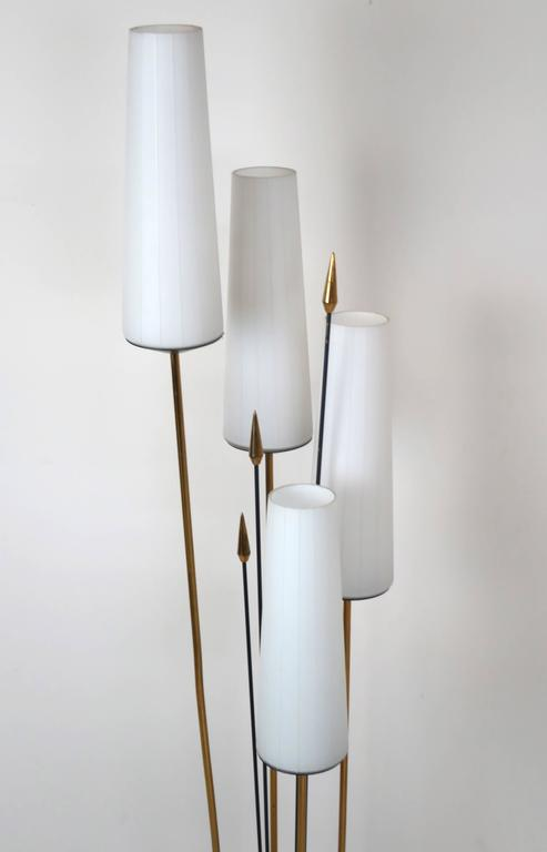 Mid-20th Century French Low Floor Lamp in the Manner of Maison Arlus For Sale