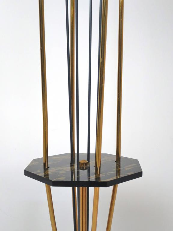 Brass French Low Floor Lamp in the Manner of Maison Arlus For Sale