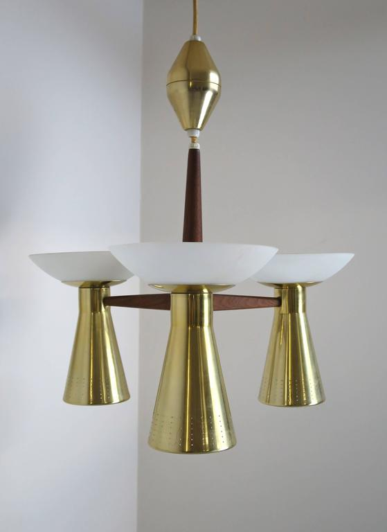 Mid-Century Modern Modernist Perforated Brass and Walnut Chandelier, circa 1960s For Sale