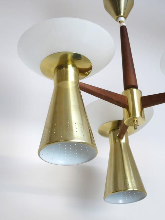American Modernist Perforated Brass and Walnut Chandelier, circa 1960s For Sale