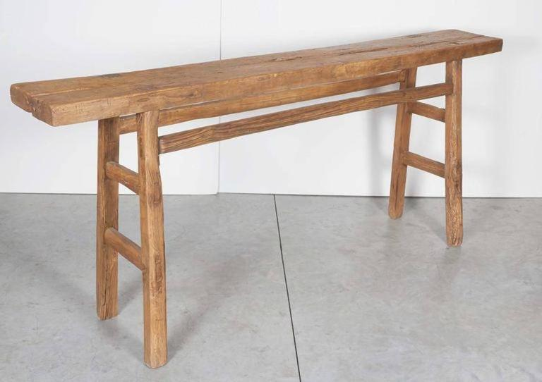 Very narrow antique farm table at 1stdibs for Very long narrow console table