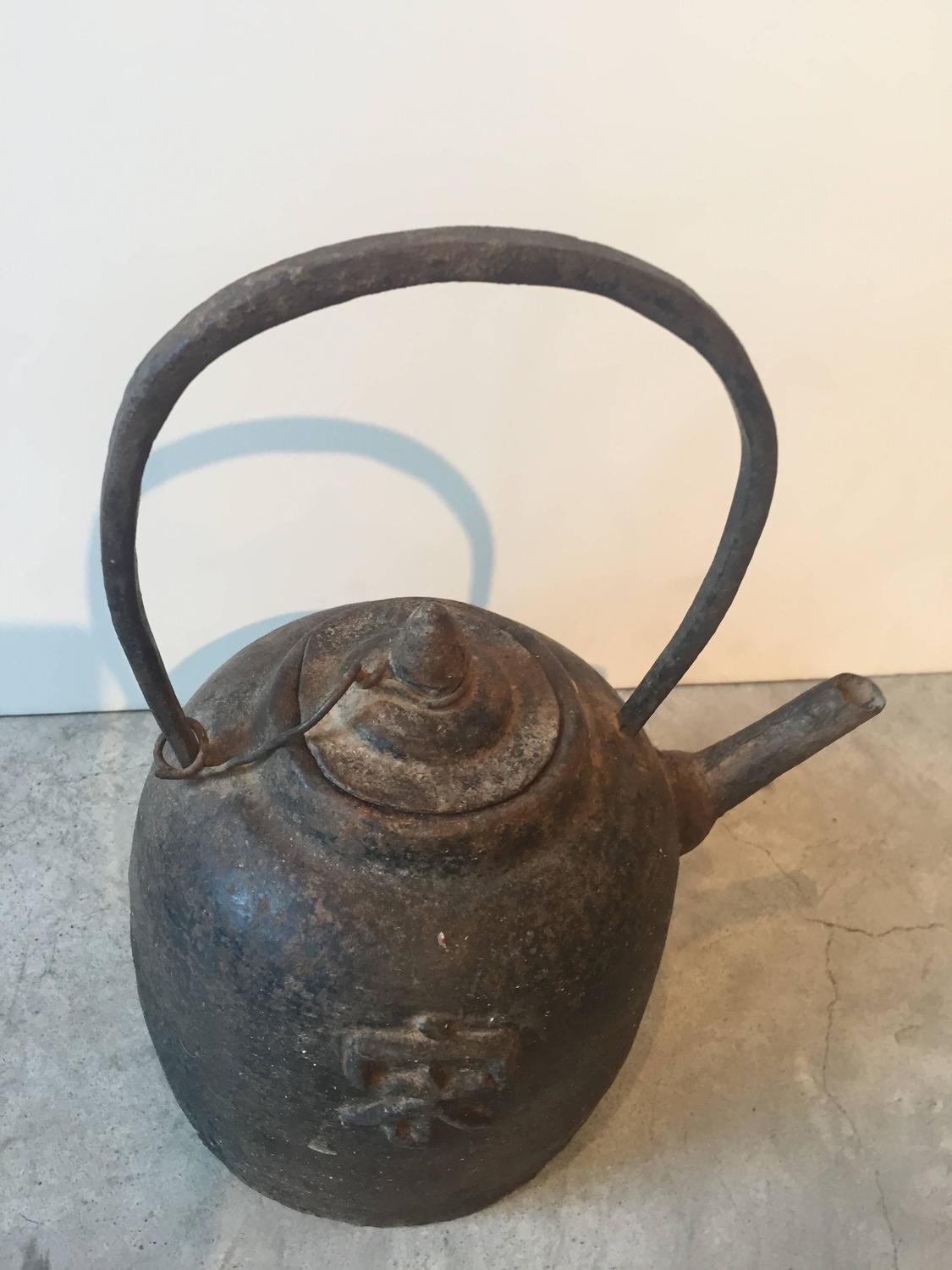 Antique chinese cast iron teapot at stdibs