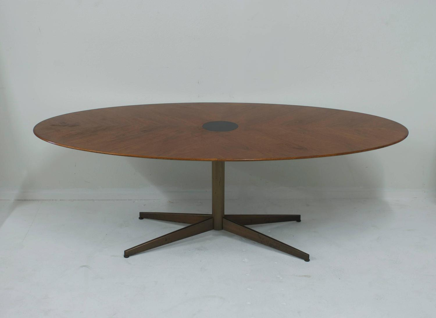 Knoll Style Walnut Oval Dining Table With Burnished Brass X Base For